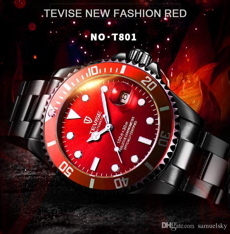 2019 швейцарский классический дизайнер часы мужские топ мода мужской моды полностью автоматические механические часы красное лицо подарочные коробки