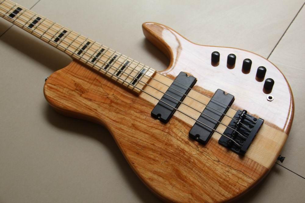 Ücretsiz kargo! Toptan 4 Dize Elektrik Bas Gitar ASH yapılmış boyun 4 dize bas gitar doğal 130615-25 içinde