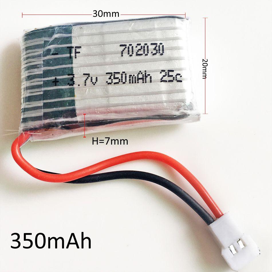 Batterie rechargeable de polymère de lithium de 3.7V 25C 350mAh 702030 Lipo pour des hélicoptères de Quadcopter de Hubsan H107 H6C RC drone de RC