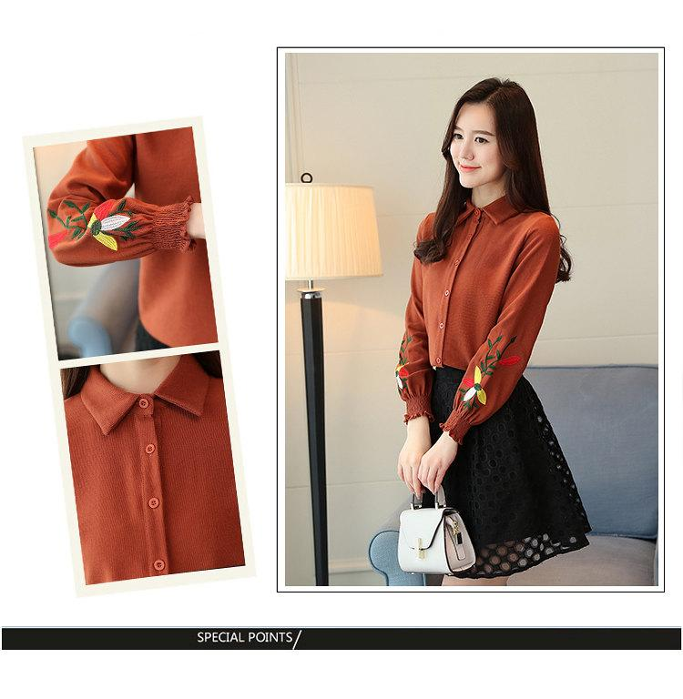 Women\`s Autumn Embroidery Tops 2019 Casual Long Sleeve Female Blouses Work Wear Corduroy Shirts Elegant Office Blusa Mujer Camisas (2)