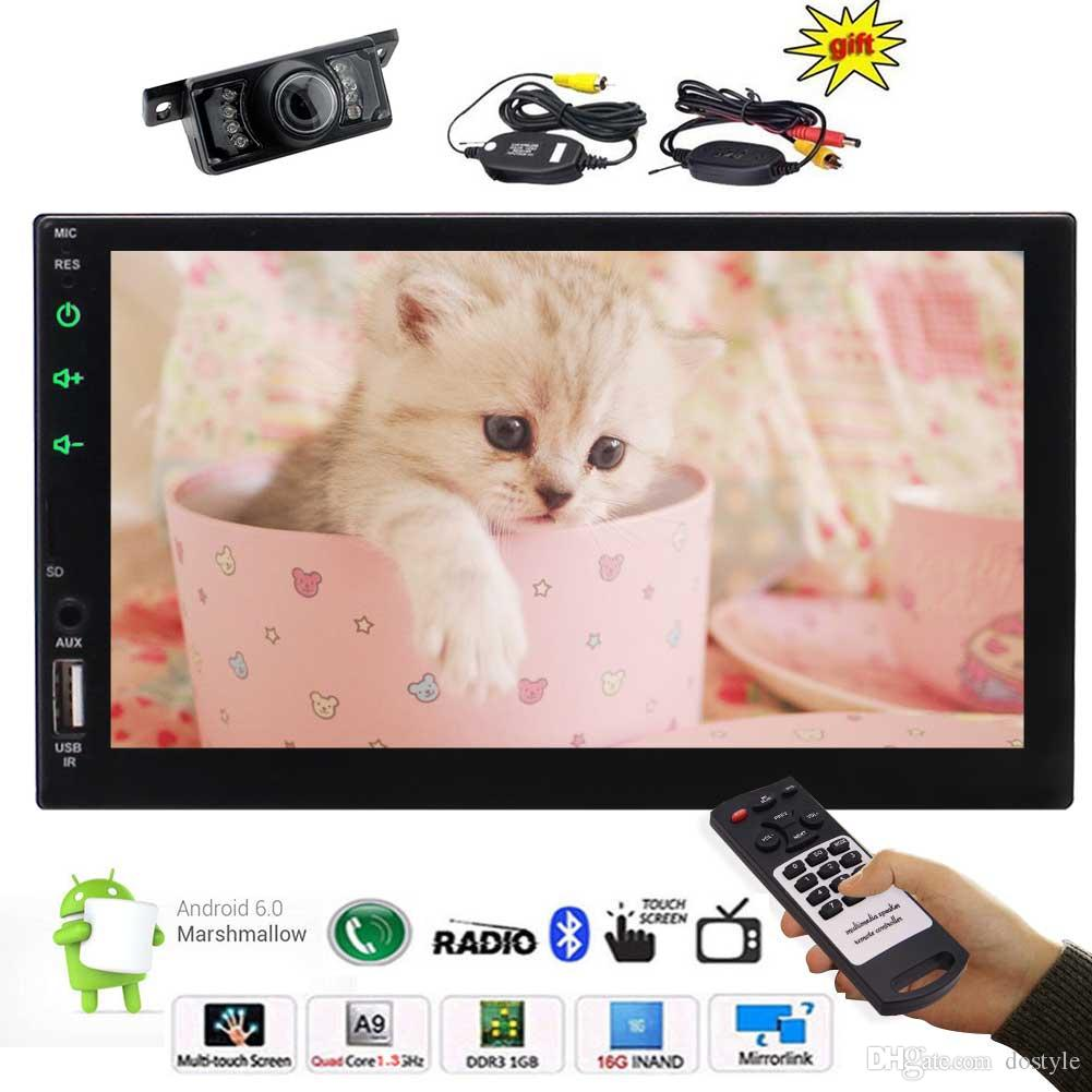 1GB+16GB Quad Core 7'' 2din Android 6.0 Car Stereo Radio Multi-touch Screen in Dash GPS Navigation no DVD Headunit WiFi Screen Mirroring