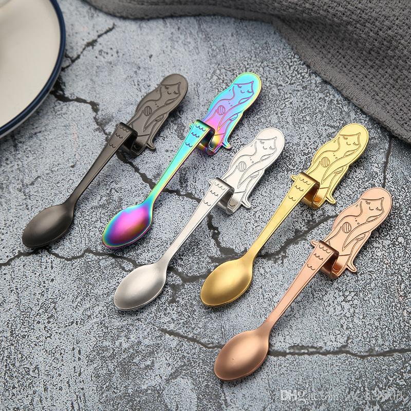 الإبداعية الفولاذ المقاوم للصدأ ملاعق القهوة حورية البحر الشكل معلقة ملعقة اثارة ملعقة الجليد مغرفة القهوة الحلوى أدوات المائدة