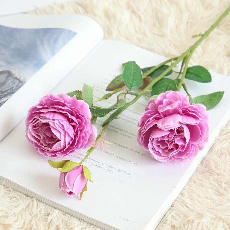 3 Heads artificial western rose Ranunculus beautiful romantic silk wedding hand bridal flower bouquet decoration for home hotel