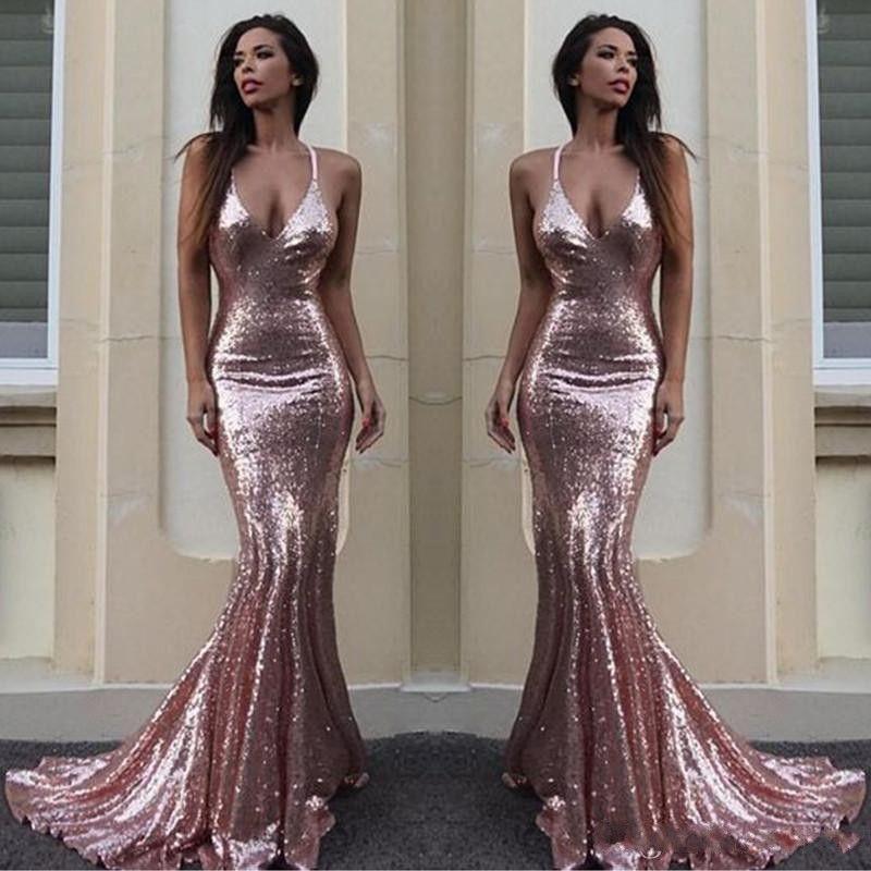 2019 NUEVAS lentejuelas de color rosa sirena vestidos de baile sexy cuello halter sin espalda pliegues piso-pliegues fiesta formal vestido de noche desgaste personalizado