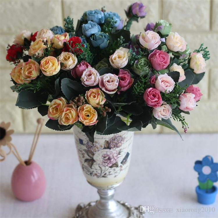 Fake Rose Bunch (5 stems/piece) Simulation Oil Painting Roses for DIY Wedding Bridal Bouquet Home Showcase Decorative Artificial Flowers
