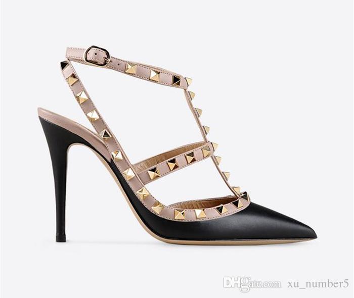 Projektant Spiczasty Toe 2-Pasek z kołkami Wysokie obcasy Patentowe Nity Sandals Kobiety Studged Strappy Sukienka Buty Valentine High Heel Buty