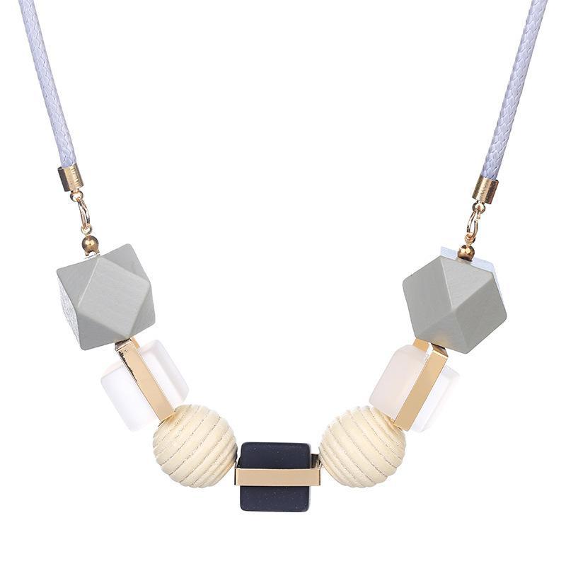 المرأة العصرية الخرز الخشب قلادة - القلائد المعلقات بيان هندسي خشبي قلادة للنساء مجوهرات