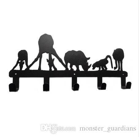 Orijinal Tasarım Dekoratif Metal Duvar Kanca Portmanto Benzersiz Stil Hayvan Içme 5 Hooks Ev Dekorasyon Banyo Aksesuarları