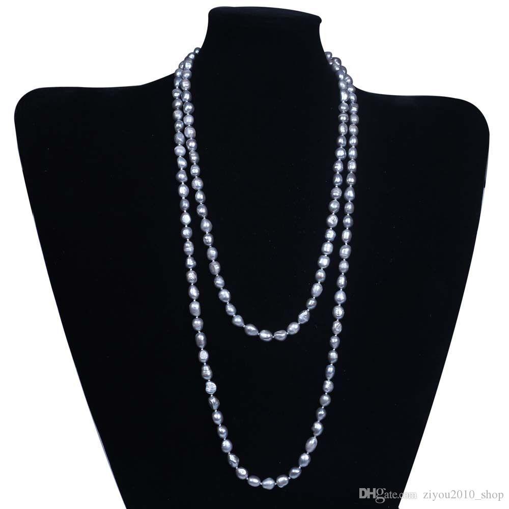 Fait à la main Naturel Belle 8-9mm d'eau douce l'aquaculture gris baroque perle collier 120 cm bijoux de mode