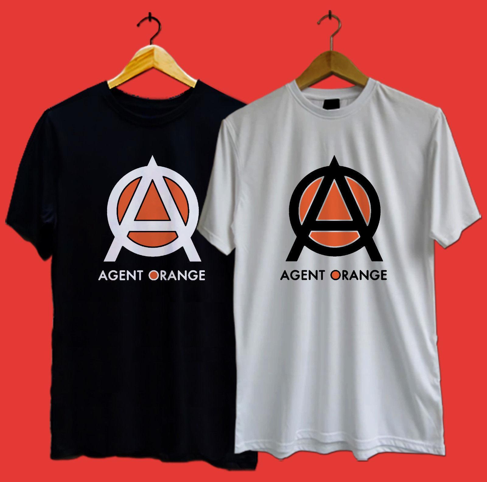 New Agent Orange Logo Long Sleeve Black T-Shirt Size S-3XL