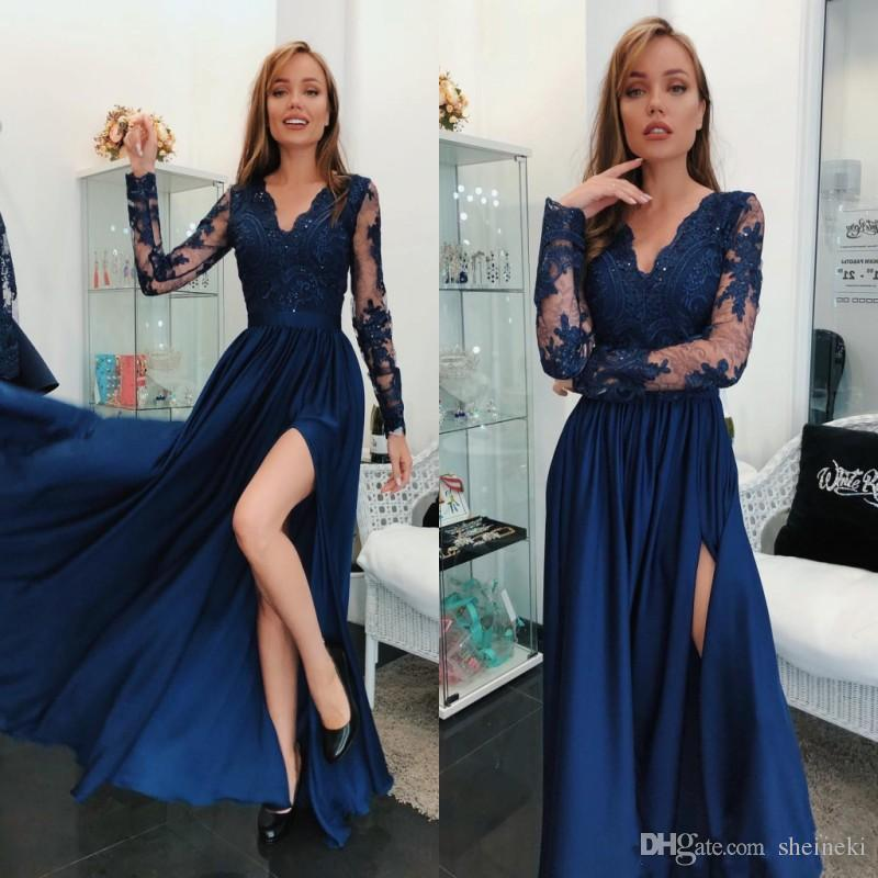 2018 árabe barato Royal azul dividir una línea vestidos de baile mangas largas escarpadas apliques lentejuelas vestidos de noche largos vestidos de fiesta por encargo