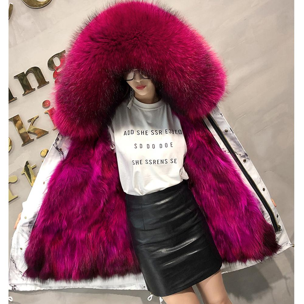 Frauen Parkas Armee Mantel Real Natural Rccoon Pelzbekleidung Winter lange Jacke mit großen Kragen Parkas Kapuzenmantel Grils Warm C # 01