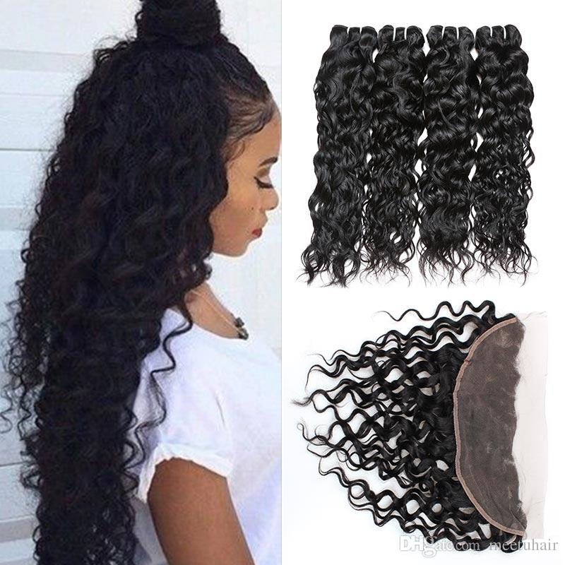 Brazilian Virgin Hair Lace Frontal Closure with 4 Bundles Body Wave Deep Loose Indian Human Hair Bundles with Closure Water Wave Kinky Curly