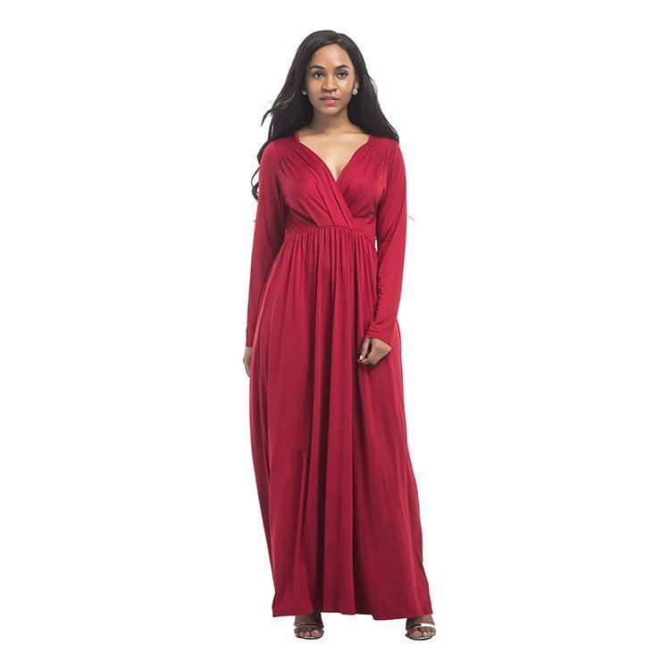 Herbst neuer Code, Abendkleid, sexy dicke MM tief V reines langärmeliges Kleid FP3108