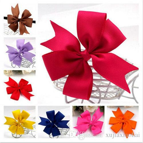 40 Colors Candy Design Grosgrain Ribbon Hair Bows Hair Pin for Kids Girls Children Baby Barrettes Party Gift Hair Accessories DHL