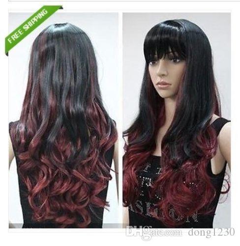 Nouveau Perruque de cheveux longs synthétiques longs cheveux noirs, noir rouge foncé