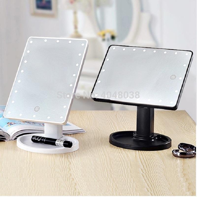 메이크업 거울 LED 터치 스크린 빛 16/22 전구와 USB 데스크탑 광장 회전 화장 거울 화장 도구