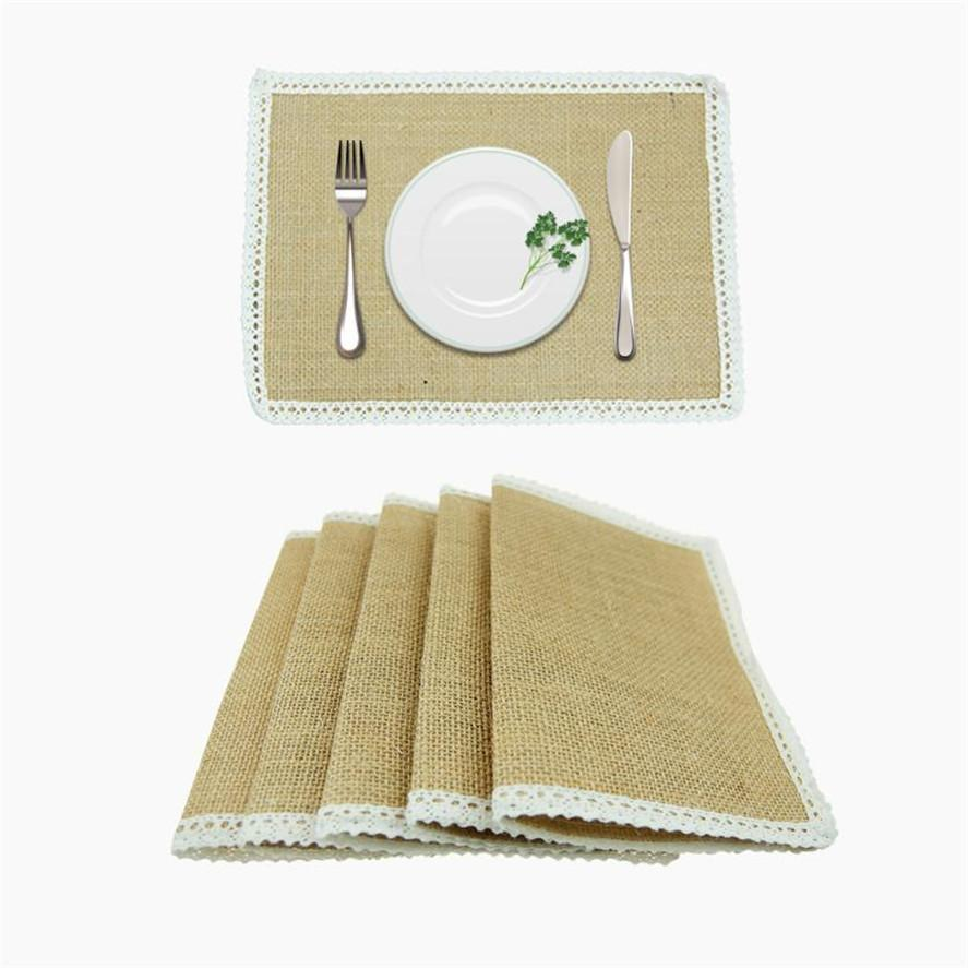 wedding decor Coffee cup pad 1Set Lace Rustic Vintage Natural Hessian Burlap Protective Table Placemats C0529