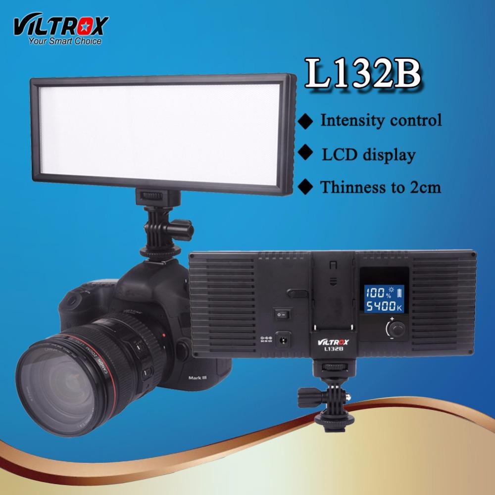 vendita all'ingrosso L132B LED Studio lampada video pannel dimmerabile ultra sottile display lcd 5400 k dimmerabile per dslr camera videocamera dv