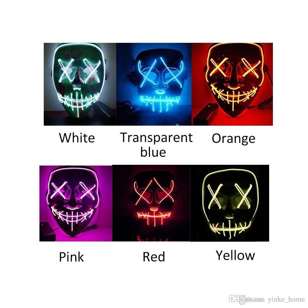EL 와이어 해골 고스트 페이스 슬릿 입 라이트 플래시 빛나는 LED 할로윈 코스프레 LED가 파티 가장 무도회 마스크를 얼굴을 찡 그리기 공포 마스크 마스크 마스크 마스크