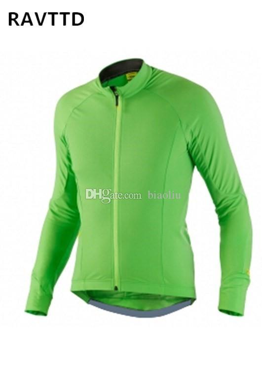 2018 녹색 색상 겨울 열 양 털 사이클링 저지 긴 소매 자전거 착용 자전거 의류 빠른 건조 MTB 저지