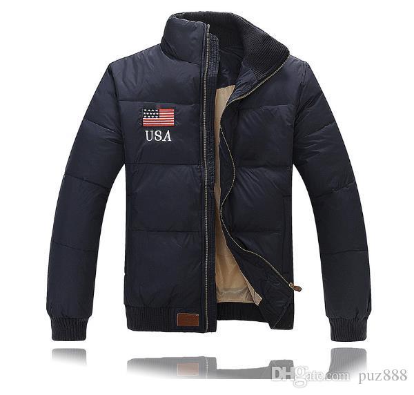 Novo inverno bandeira americana bandeira Britânica para baixo jaqueta dos homens de espessura extra curto tamanho do negócio outerwear m-2l