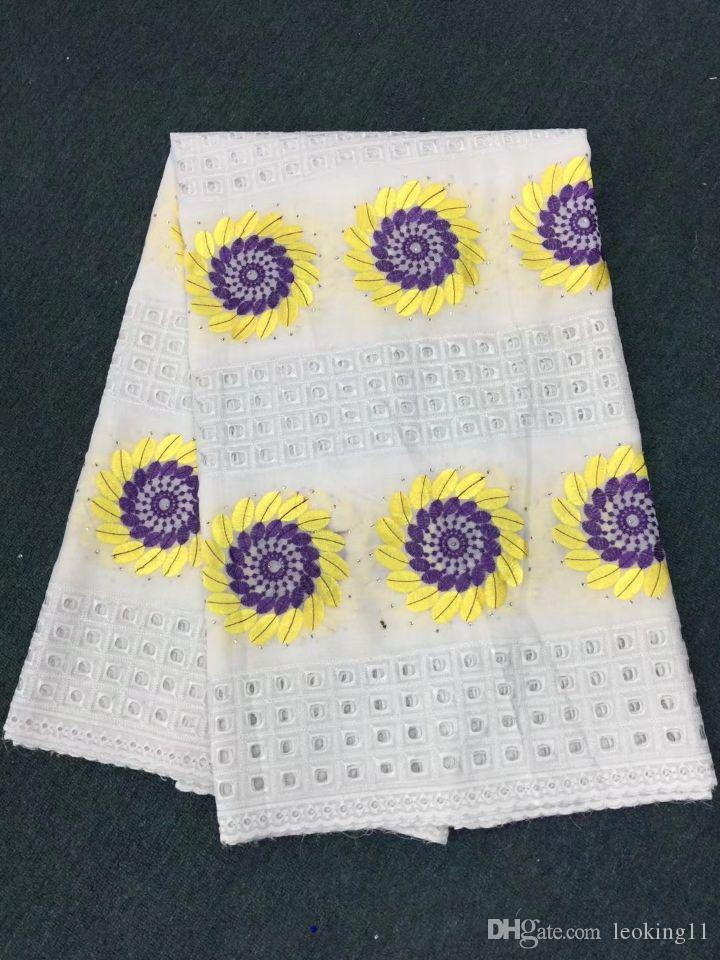 5 Yards/pc Top sale white african cotton fabric with purple and yellow sun flower swiss voile lace embroidery for clothes BC12-6