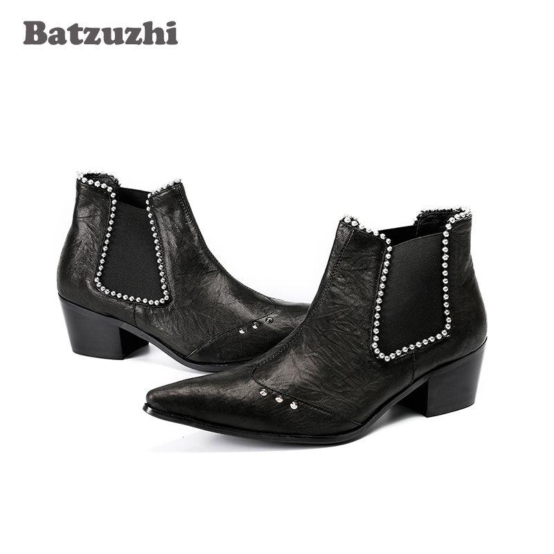 Botas Hombre 6,5 cm Heel Stivali occidentali da uomo Punta a punta in pelle nera Stivaletti con cristalli Abiti da festa per uomo Scarpe, Big Size US12-EU46
