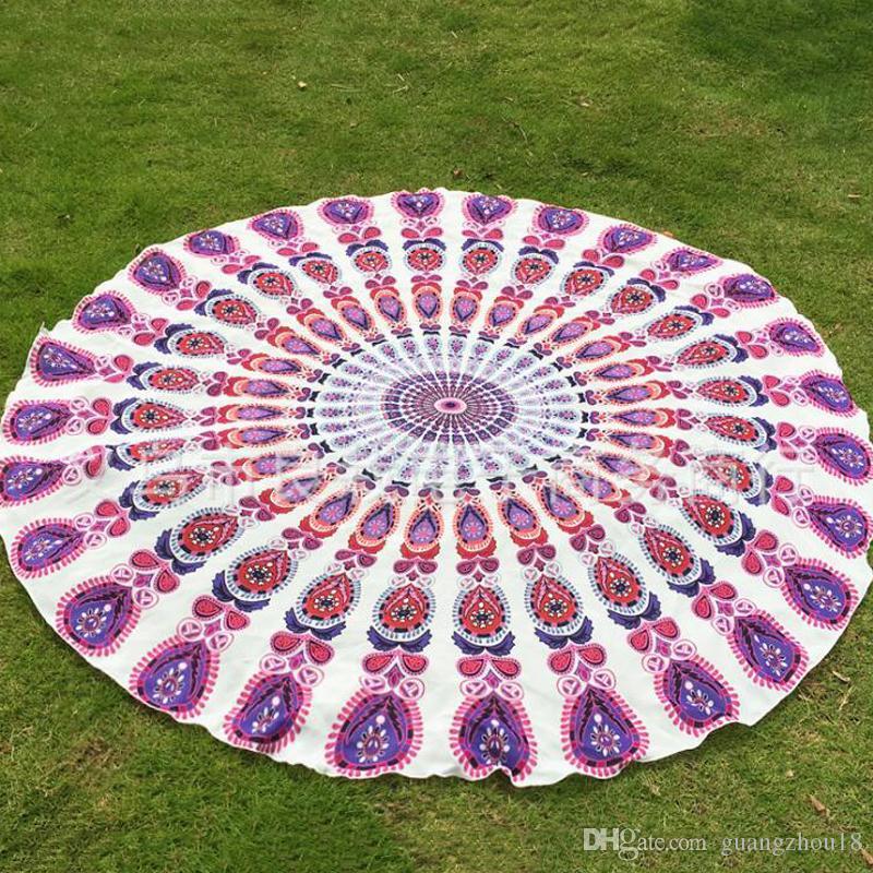 W magazynie Poliester Okrągły Ręcznik Plażowy Hippie Mandala Tapestry Boho Hippie Indyjskie obrusy Yoga Mata Surycowa Szal Wrap Indian Mat Picnic