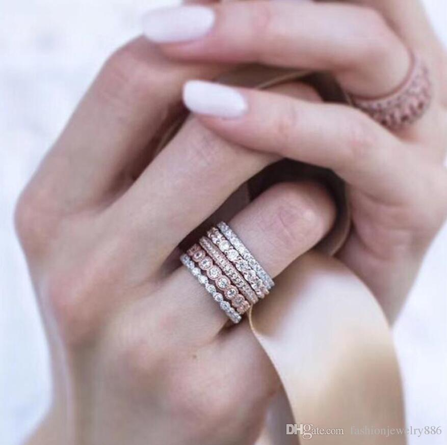 5 قطعة / المجموعة روز الذهب + الفضة مزدوجة اللون حجر الراين الاشتباك الزفاف الفرقة الدائري حلقات حزب الإناث الساخن