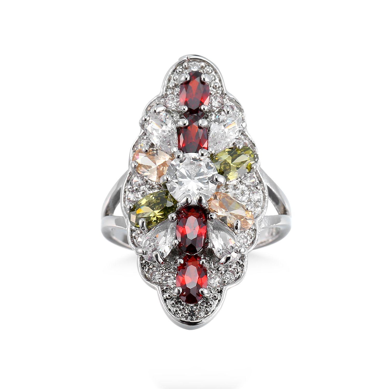 Европа горячие продать fshion Полихроматический Циркон кольцо ювелирные изделия Кристалл женский кольцо mix размер 6 до 10