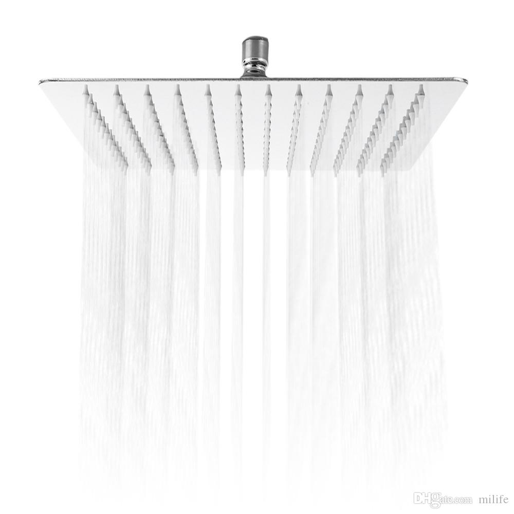 2019 12 Inch Ultra Thin Square Stainless Steel Rainfall Shower Head Top Shower Rain Shower Wall Mounted Rainfall Showerhead From Milife 32 51
