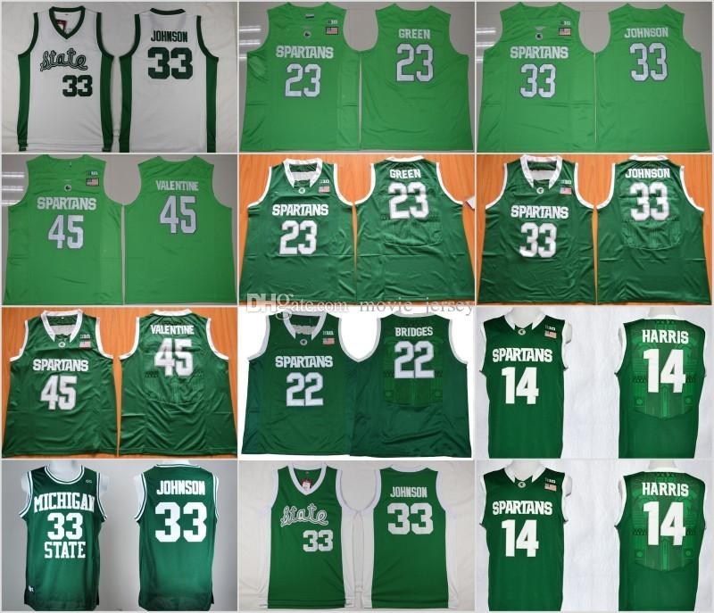 Hombre Michigan State Spartans 33 Johnson College Jersey 22 Millas Puentes 23 Draymond Green 45 Denzel Valentine Camisetas de baloncesto
