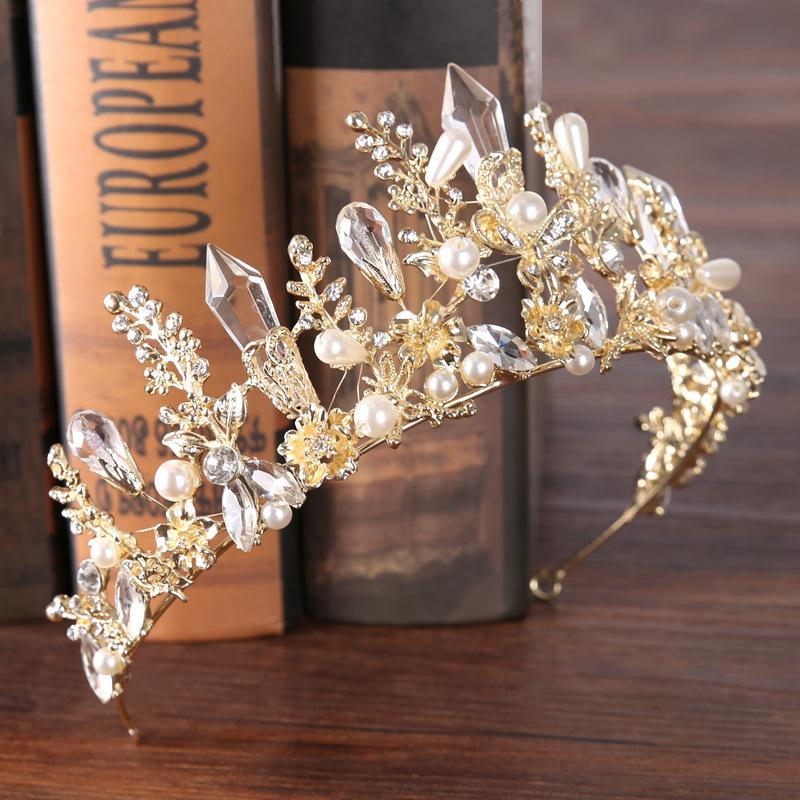 10 New Fashion Baroque Luxury Crystal Bridal Crown Tiaras Light Gold Diadem Tiaras for Women Bride Wedding Hair Accessories