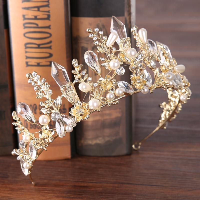 10 New Fashion Baroque Luxury Crystal Bridal Crown Tiaras Light Gold Diadem Tiaras for Women Bride Wedding Hair Accessories