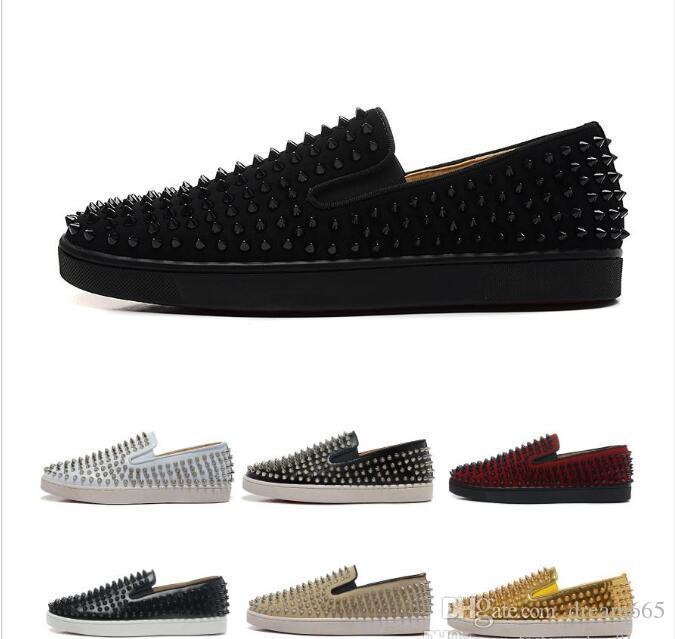 Yeni Lüks Tasarımcı Marka Mens Womens Kırmızı Dipleri Ayakkabı Çivili Spike Flats Ayakkabı Düğün Parti Severler Deri Sneakers