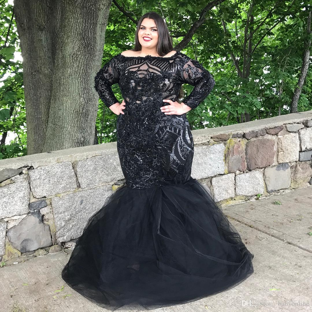 Plus Size Black Mermaid Prom Dresses Custom Made Long Sleeves Lace  Appliqued Evening Gowns Ruched Party Pageant Dress Prom Dresses For Plus  Size Girls ...