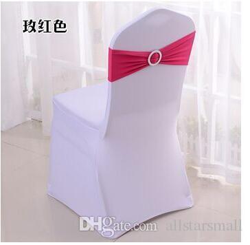 Vente chaude Bandes Spandex Lycra Band Chair Covers Sash Avec Cristal Boucle Ronde Pour Mariage Banquet en gros 100 pcs livraison gratuite
