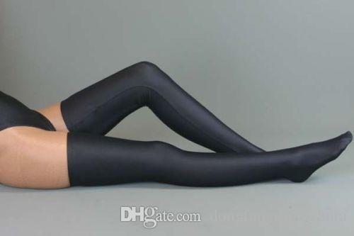 Новый спандекс длинные чулки, унисекс черный размер S-XXL