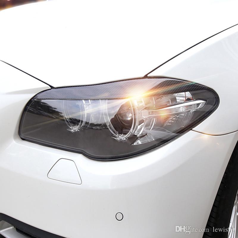 탄소 섬유 전조등 눈썹 BMW F30 F10 3 5 시리즈 용 눈꺼풀 전조등 전조등 전조등 눈썹 트림 커버 액세서리