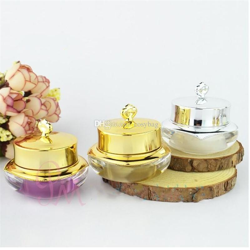 10g/10ml Empty Plastic Cosmetic Sample Container for Make Up Small Gold silver Color Cream Pot 0125