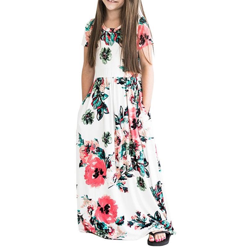 Летние детские платья Дети Девушки с коротким рукавом Цветочные платья принцессы Весенние девушки Пляжные цветочные платья Детские праздничные платья