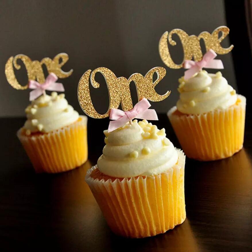 아기 첫 번째 생일 장식 한 컵케익 Toppers 핑크 리본 금 24pcs 아기 쇼 케이크 토퍼 장식 용품