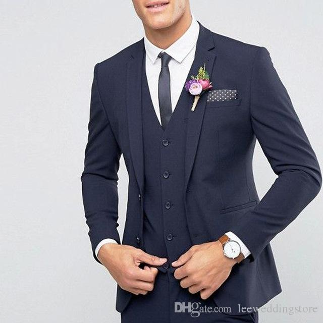 Handsome Custom Made Navy Blue Wedding Suits Best Man Blazer Tuxedos Groom 3 Pieces Business Men Suits Terno Masculino (Jacket+Pants+Vest )