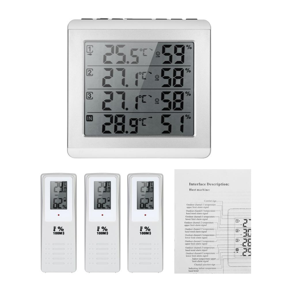 Thermomètre Numérique Sans Fil LCD Température Météo Intérieur Extérieur