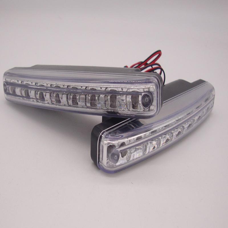 2Pcs / Set DC 12V 8W 8LED Universal Car condução diurna Running luz DRL Head Lamp Super Cor Branco Waterproof Led Externa Car Styling