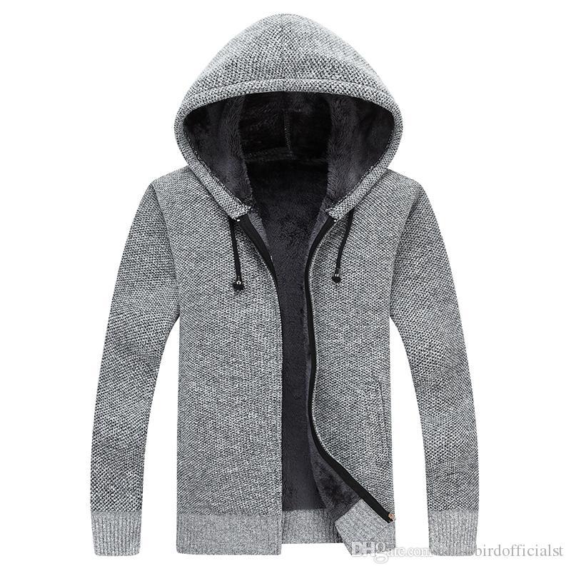 Grueso suéter hombres con capucha otoño invierno sólido espesar outwear suéter abrigo Cardigans Casual terciopelo dentro de tamaño grande 3XL