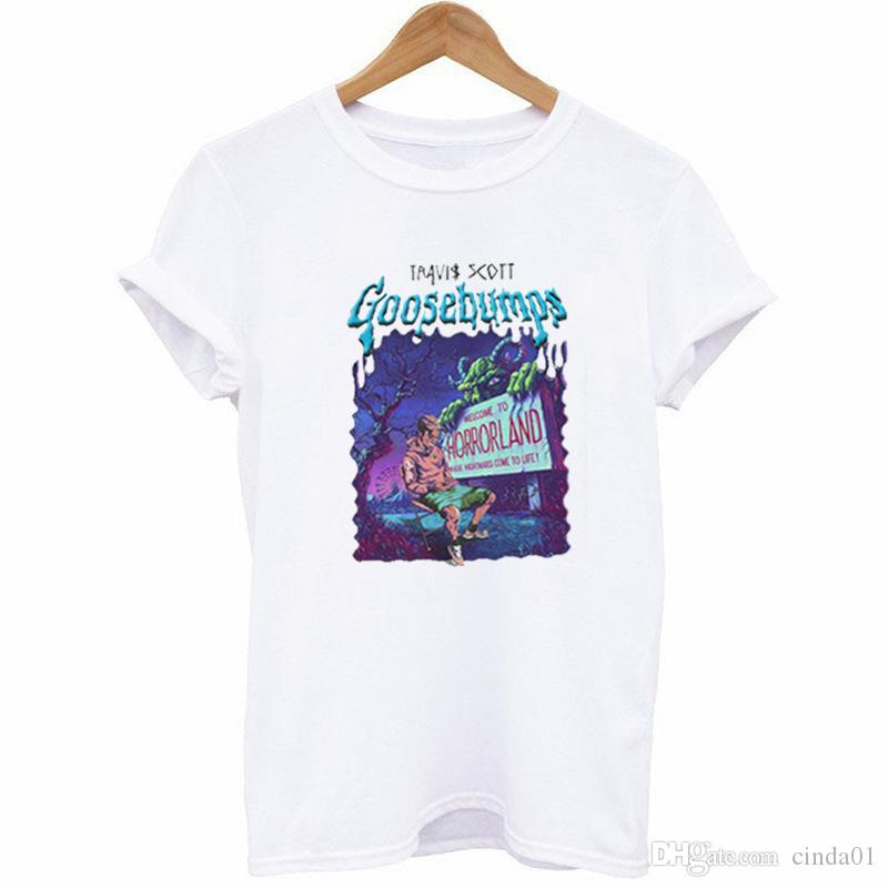 Travis Scott Erkek Mektuplar Baskılı Casual T-shirt Erkek Hi-Sokak Tees Basit Kısa Kollu Ücretsiz Nakliye Tops