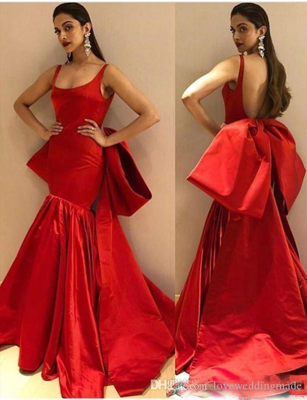 Sexy red Mermaid evening dresses Back Big Bow floor Length scoop Neck Backless fashion Prom Party Red Carpet Dresses