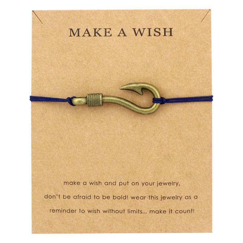 Faça um desejo de jóias de prata de bronze seta âncoras gancho de peixe leme Seahorse Starfish Sereia Seashells Charm Men pulseira para mulheres